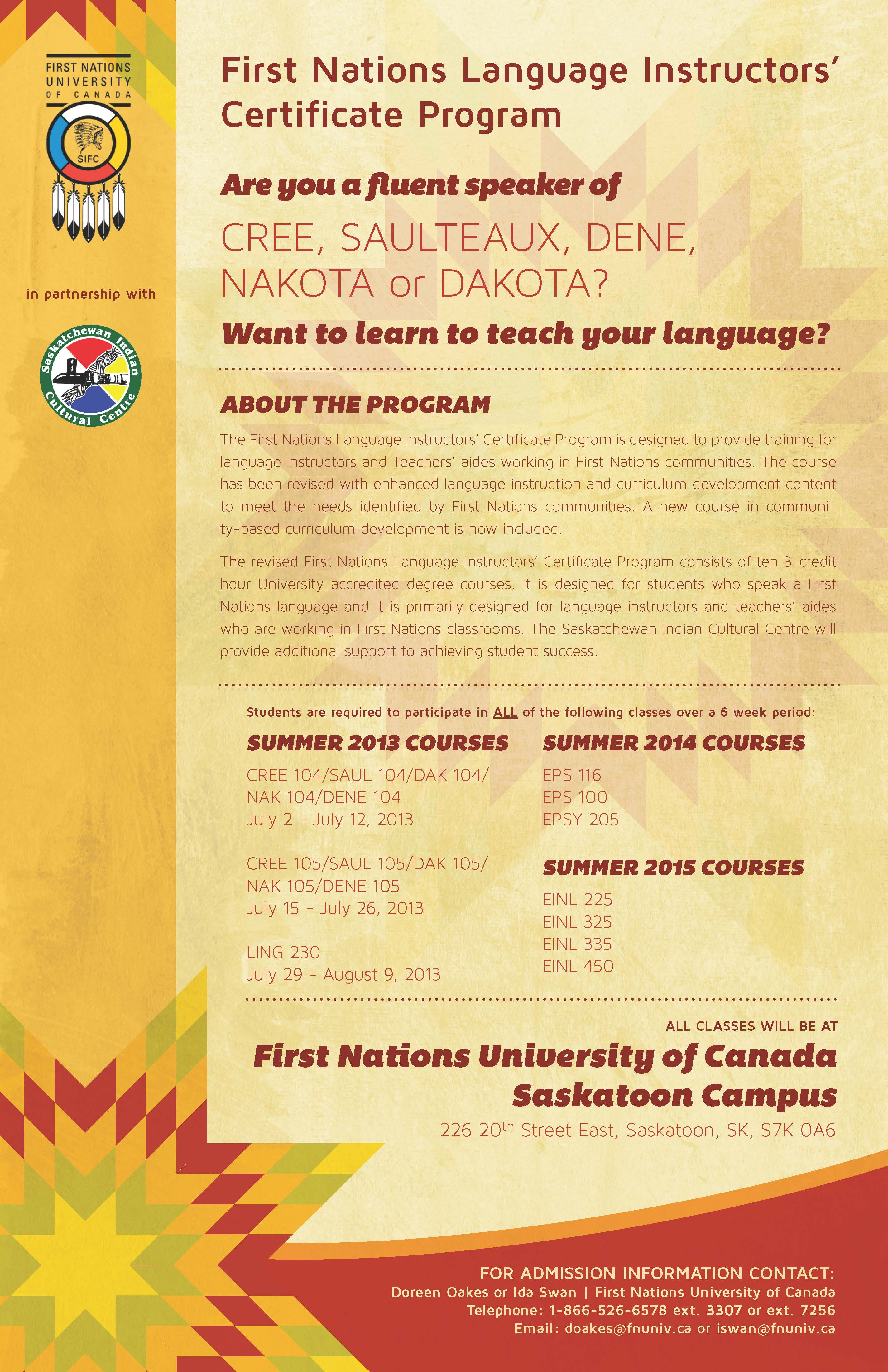 FNUC First Nations Language Instructors Certificate Program